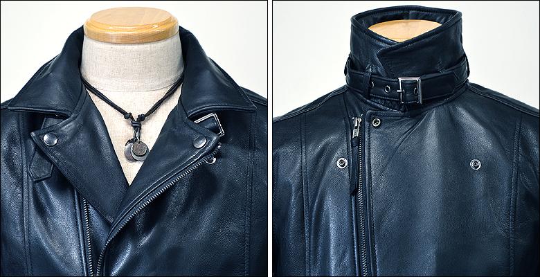 レザーライダースジャケット ネイビー 紺 usa26vavy2